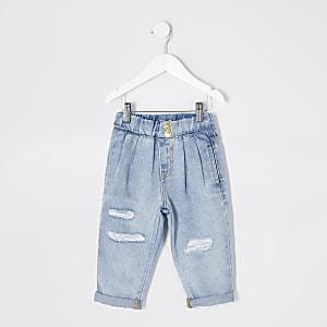 Mini - Blauwe rippedMom jeans met elastiek voor meisjes