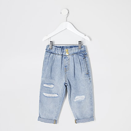 Mini girls blue ripped Mom pull on jeans