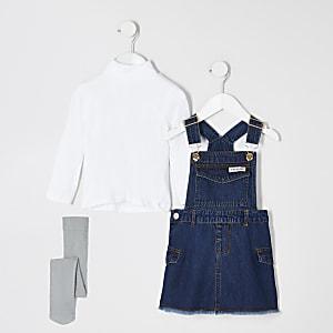 Mini – Blaues Kleid- und Strumpfhosenset aus grober Baumwolle für Mädchen