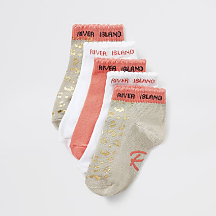 Mini girls coral leopard trainer socks 5 pack