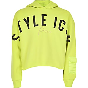 Sweat à capuche jaune fluo « Style icon » pour fille