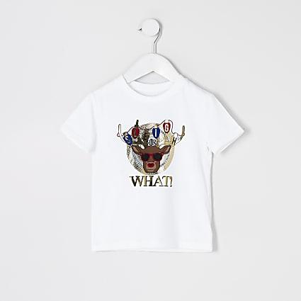 Mini boys Reindeer print Christmas T-shirt