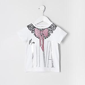 """Mini – Weißes T-Shirt """"Mini Diva"""" mit Schleife für Mädchen"""
