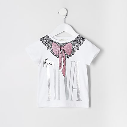 Mini girls 'Mini diva' white bow T-shirt