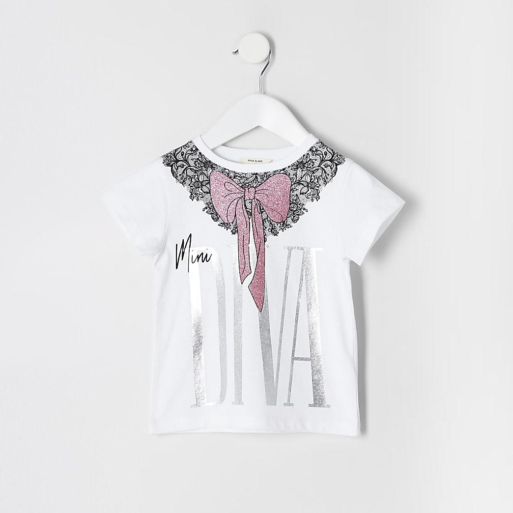 Mini girls 'Mini diva' white bow T-shirt