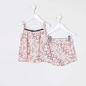 Mini – Shorts-Outfit in Rosa mit Bandana-Print für Mädchen