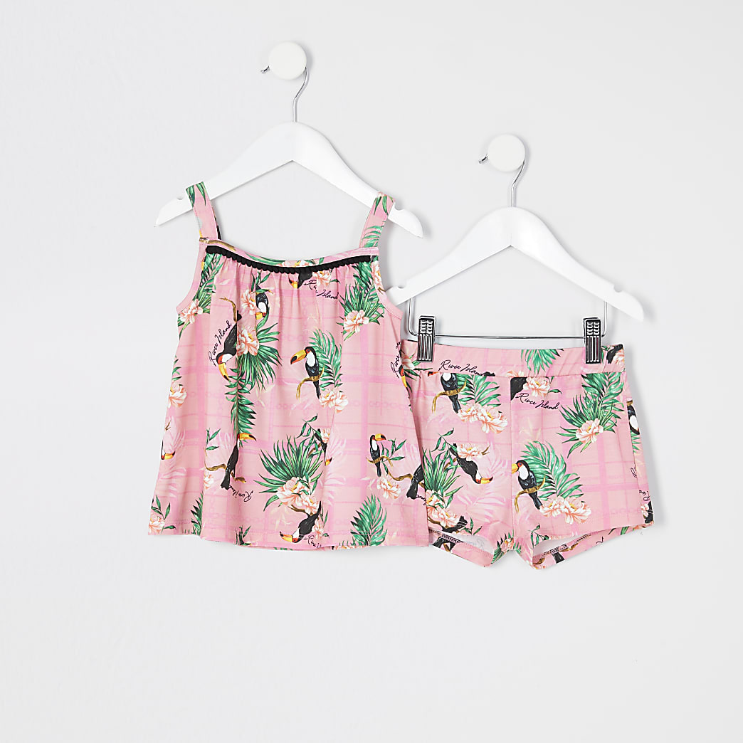 Mini girls pink floral print cami top outfit