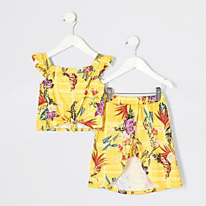 Mini - Gele camitop outfit met print voor meisjes