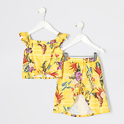Mini girls yellow print cami top outfit
