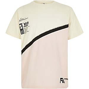 Girls cream ATLR colour blocked T-shirt