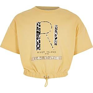 T-shirt RI jaune cintré à la taille pour fille