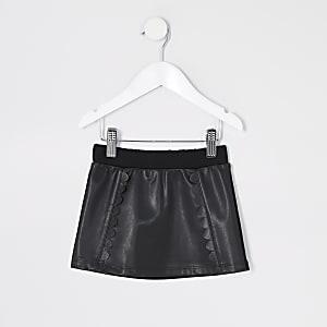Mini girls black faux leather scallop skirt