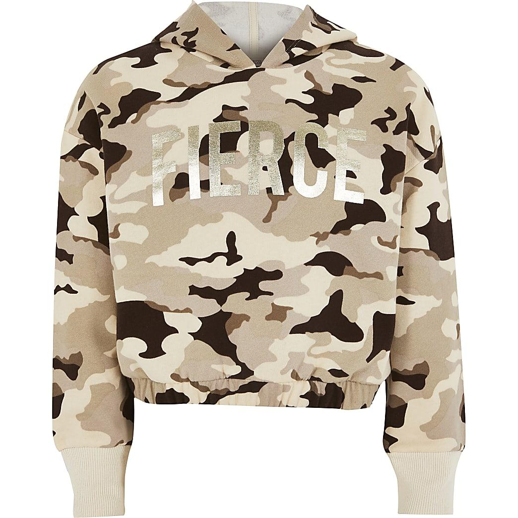 Girls brown camo 'Fierce' foil print hoodie