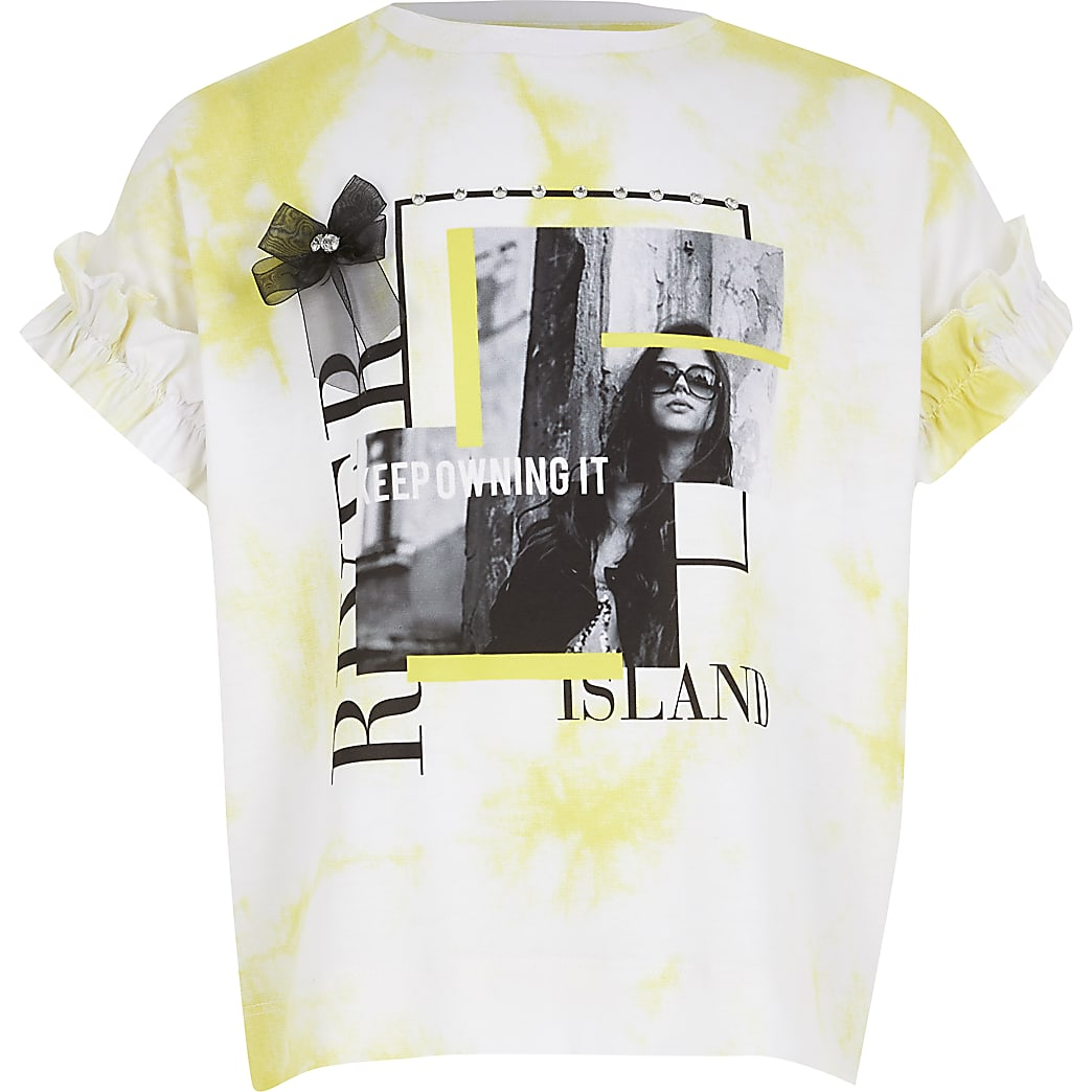 Girls white tie dye printed frill T-shirt