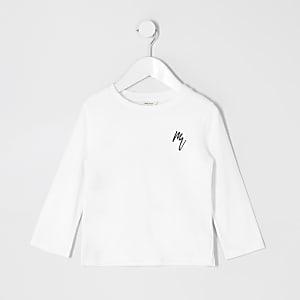 Mini - Wit T-shirt met wafeldessin en lange mouwen voor jongens