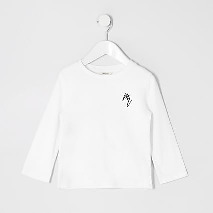 Mini boys white long sleeve waffle T-shirt