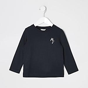 Mini - Marineblauw T-shirt met wafeldessin en lange mouwen voor jongens