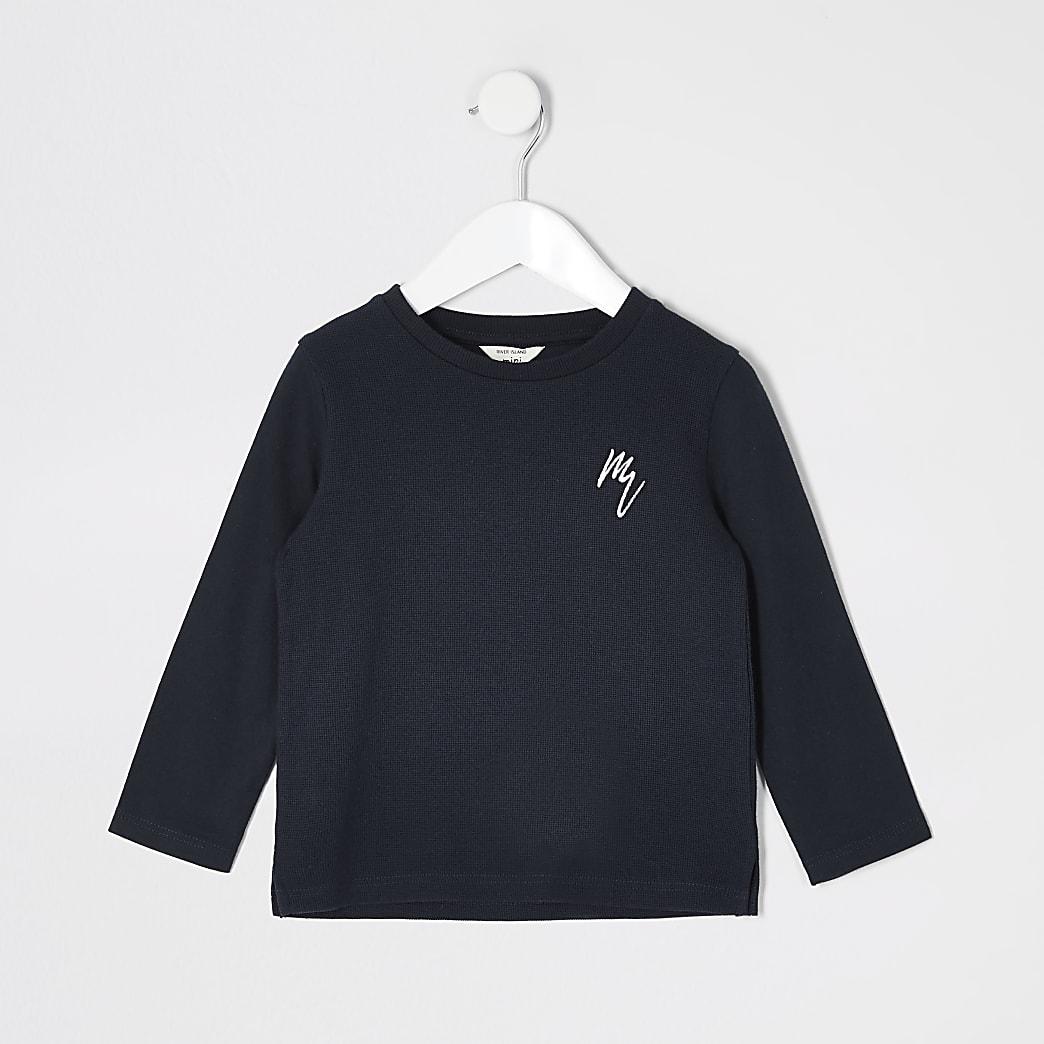 Mini boys navy long sleeve waffle T-shirt