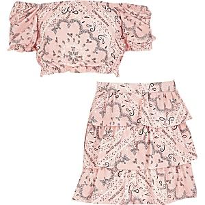 Roze rara rok outfit met bandana-print voor meisjes