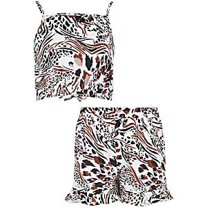 Witte cropped top outfit met dierenprint voor meisjes