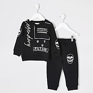 Mini – Schwarzes Sweatshirt-Outfit mit Print für Jungen