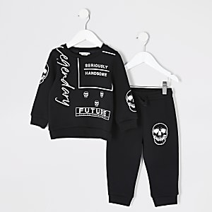 Mini boys black printed sweatshirt outfit