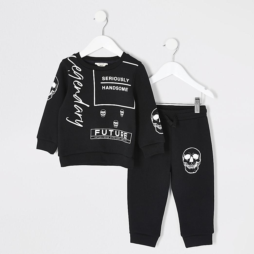 Mini - Zwarte sweater outfit met print voor jongens