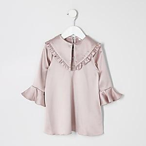 Mini - Roze satijnen jurk met ruches rond kraag voor meisjes