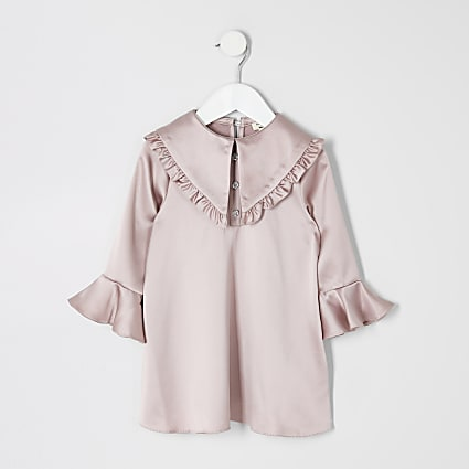 Mini girls pink satin frill collar dress