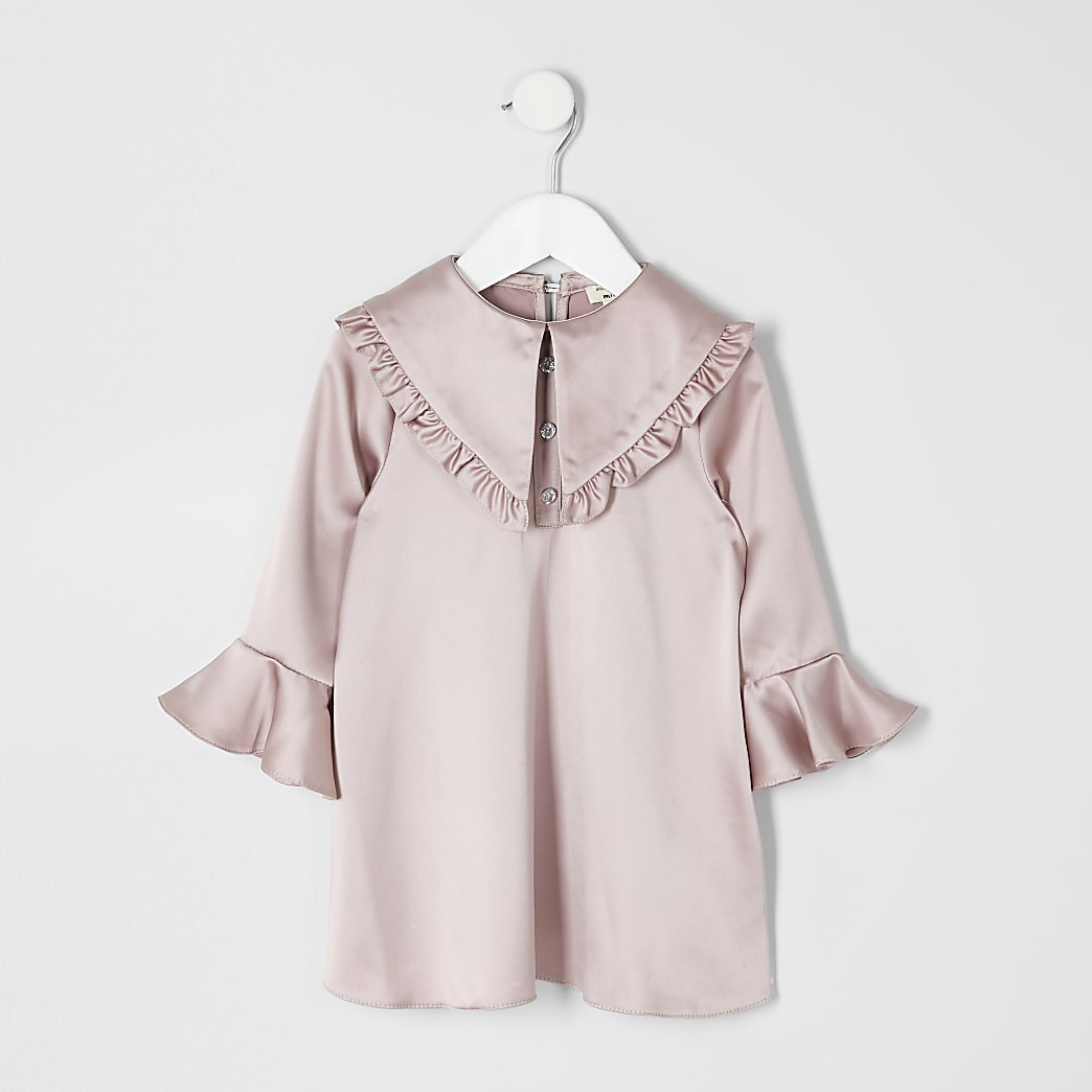 Mini girls pink satin frill collar dress