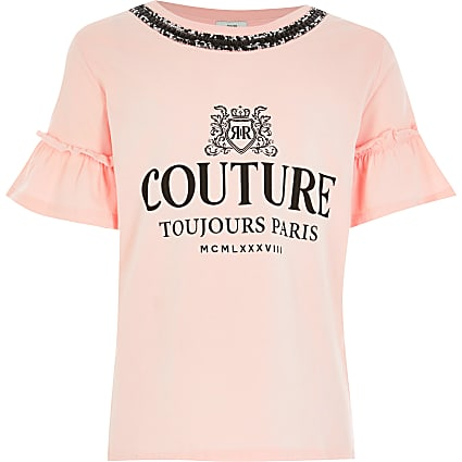 Girls light pink 'Couture' print T-shirt