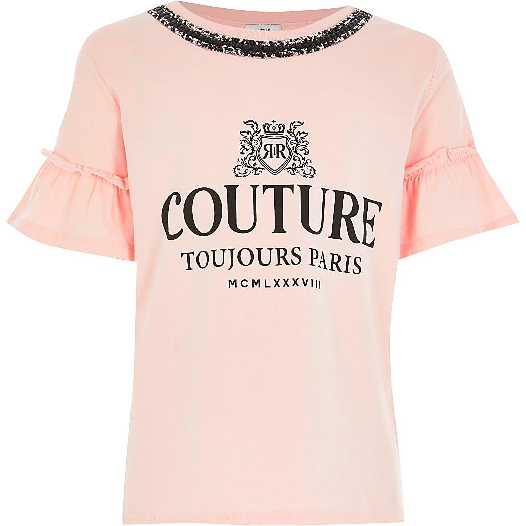 Girls light pink 'Couture' print T-shirt
