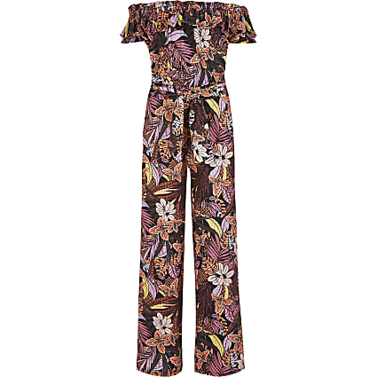 Girls black printed bardot frill jumpsuit