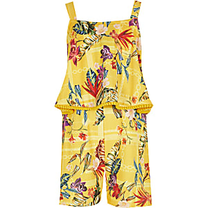Gelber Rüschen-Overall mit Print für Mädchen