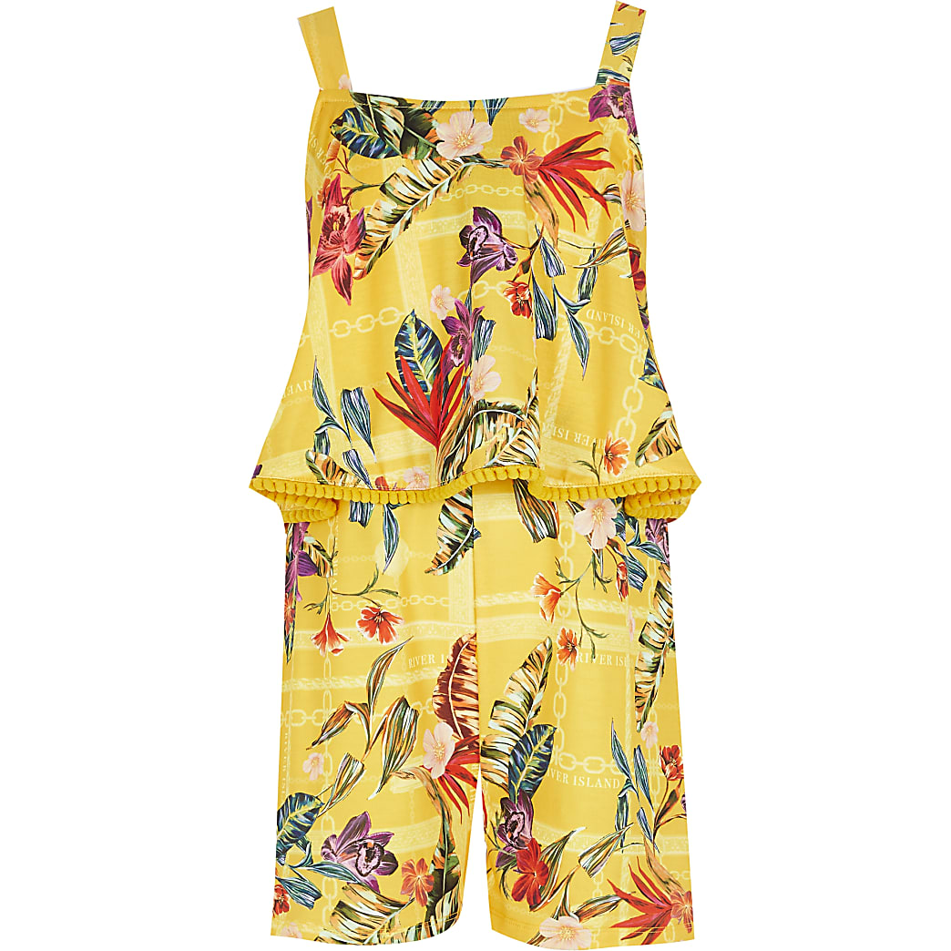 Girls yellow printed frill playsuit