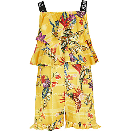Girls yellow printed RI rara playsuit