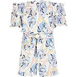 Gerüschter, weißer Bardot-Overall mit Print für Mädchen