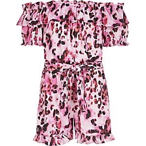 Bardot-Overall in Rosa mit Leoprint für Mädchen
