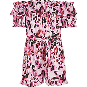 Combi-short Bardot rose imprimé léopard pour fille