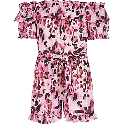 Girls pink leopard print bardot playsuit
