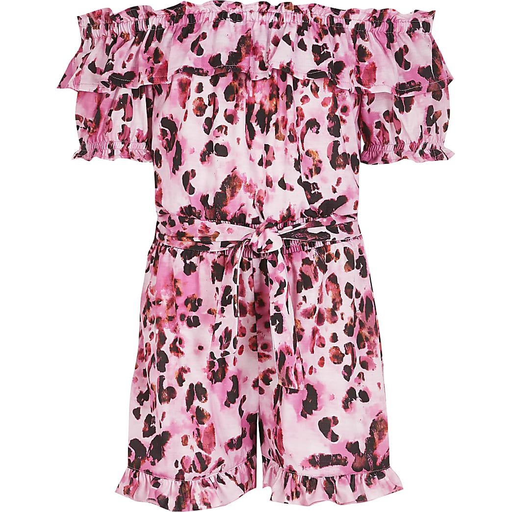Girls pink leopard print bardot playsuit