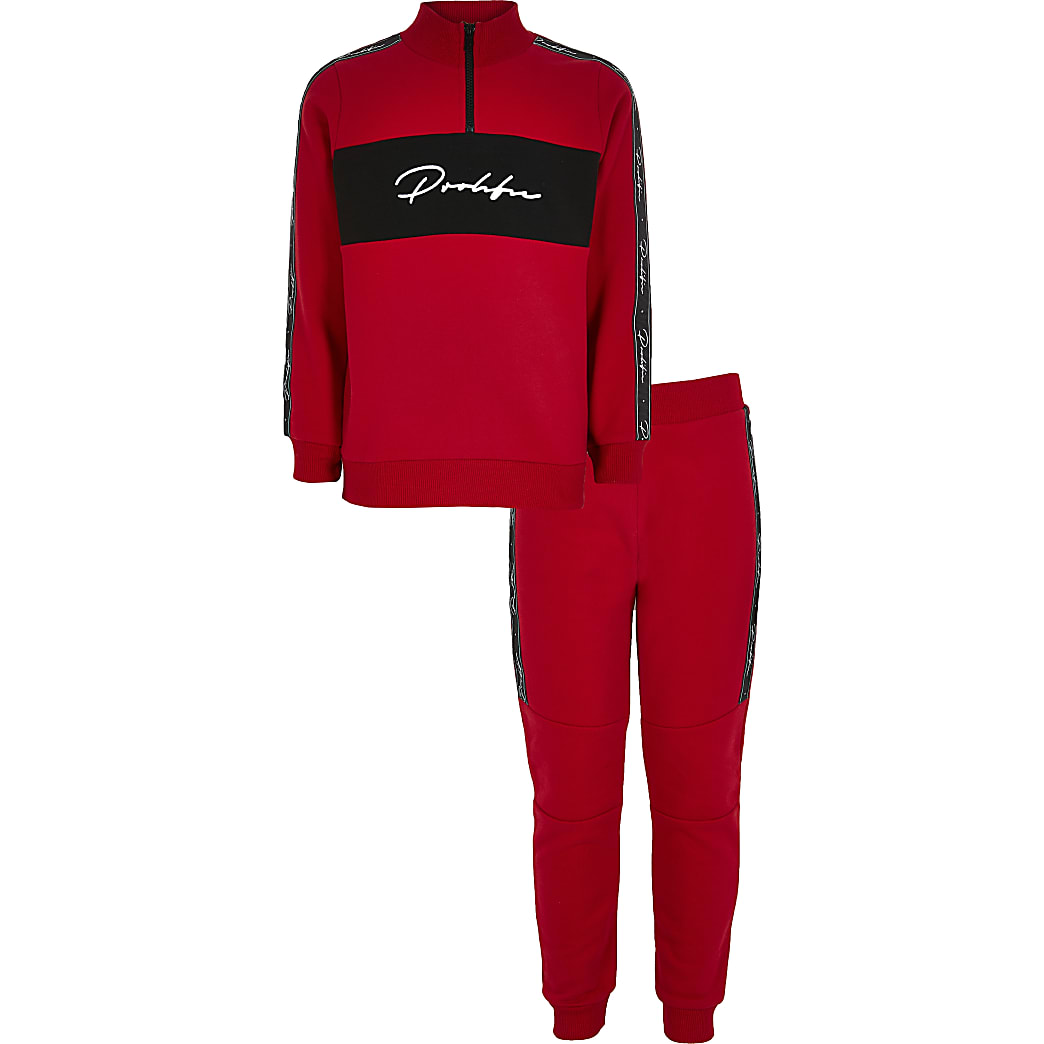 Boys red Prolific tape sweatshirt outfit
