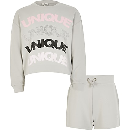 Girls grey 'Unique' sweatshirt outfit