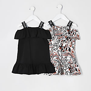 Lot de 2 robes bardot RI noires à volants Mini fille