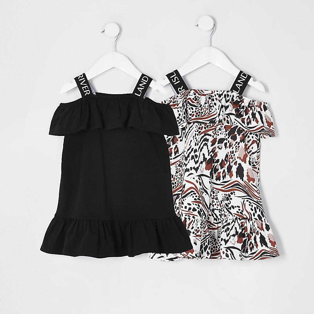 Mini - Zwarte RI jurk in bardotstijlmet franje voor meisjes set van 2