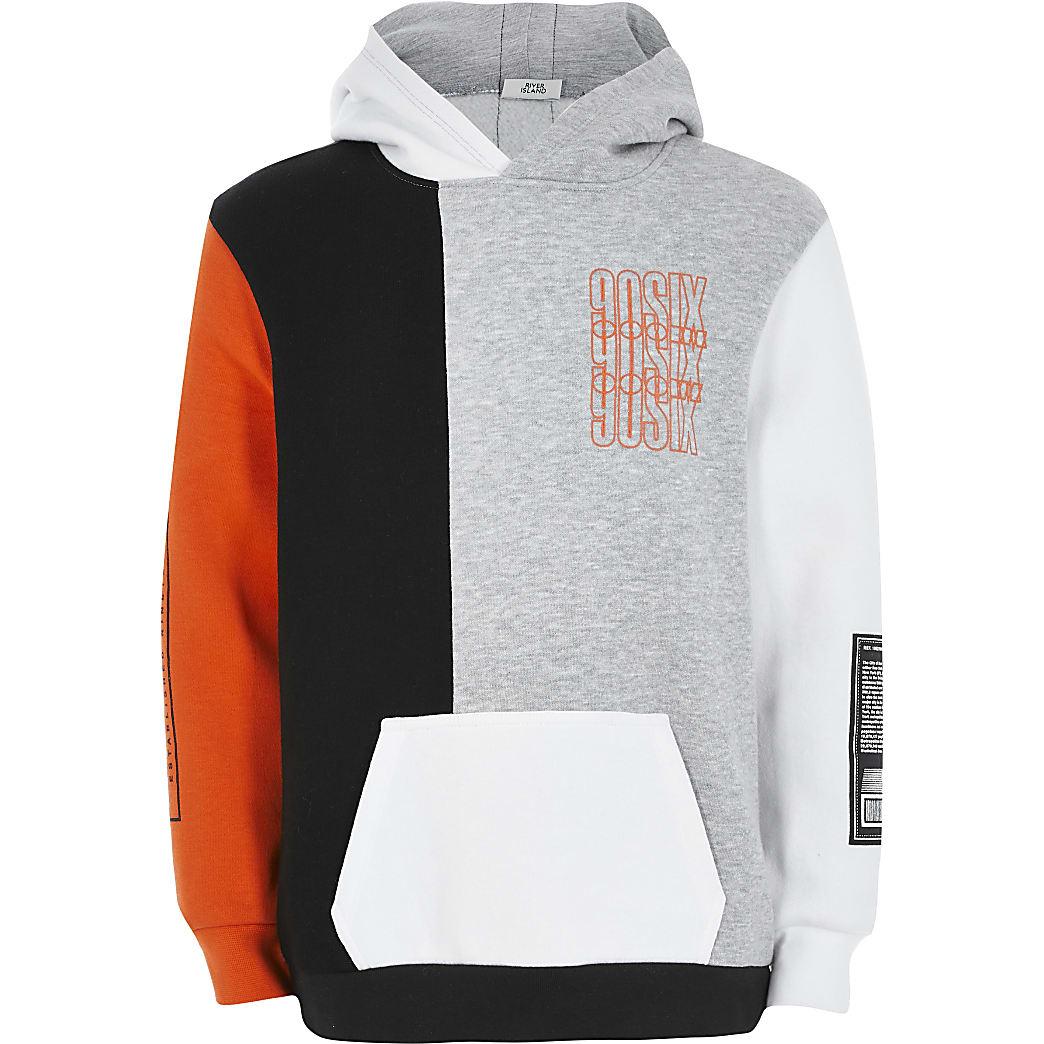 Boys orange colour blocked hoodie