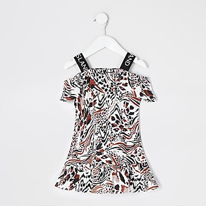 Mini girls beige leopard print dress
