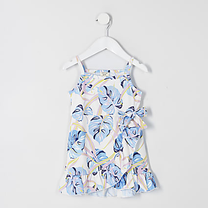Mini girls white printed frill wrap dress