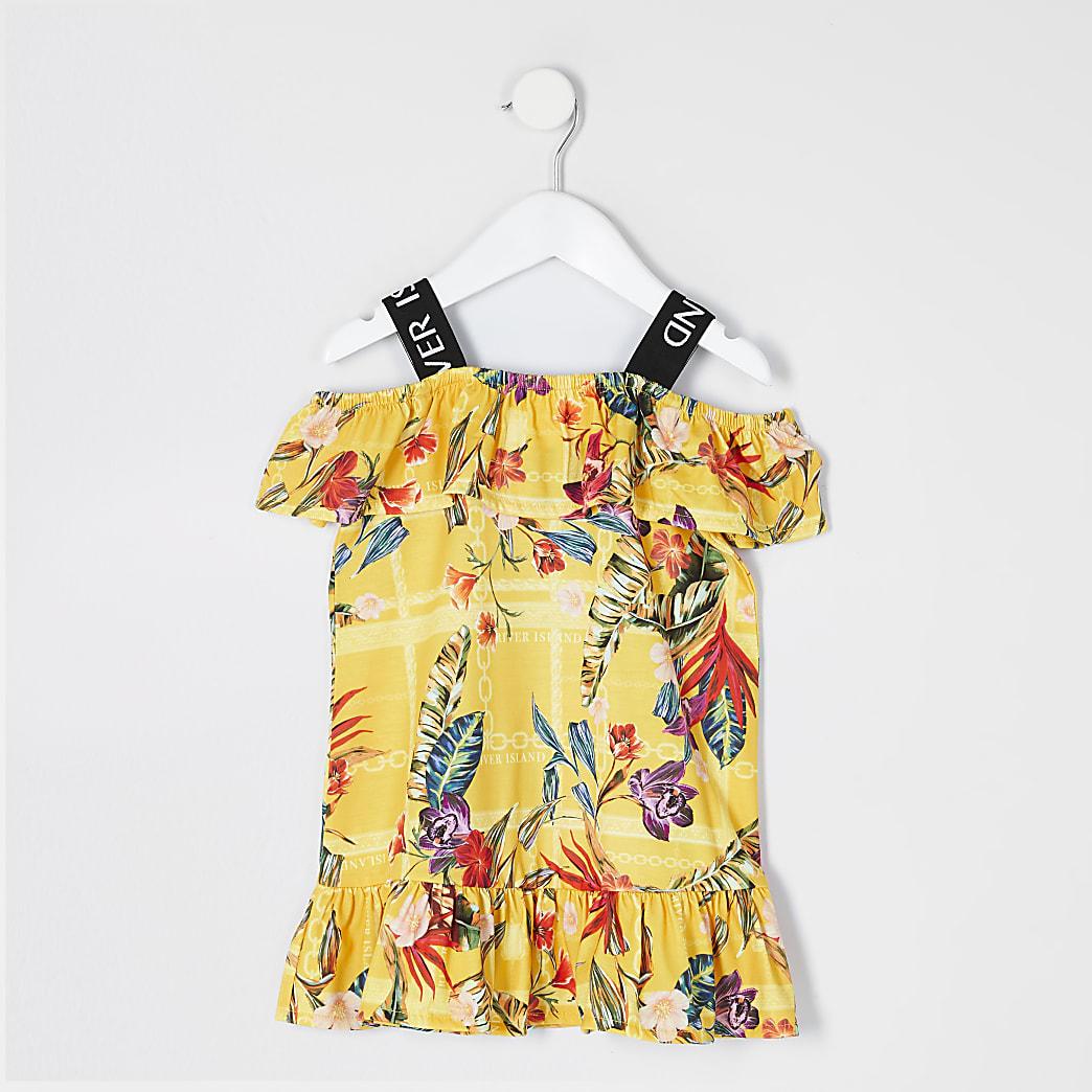 Mini - Gele jurk met print, RI-bandjes en ruches voor meisjes