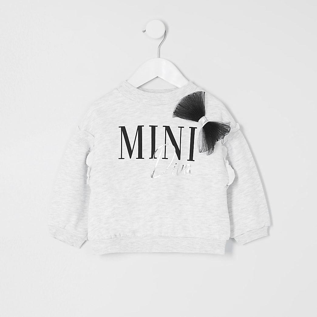 Mini girls grey mesh bow sweatshirt